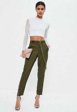 Khaki Satin Side Zip Hem Cigarette Trousers