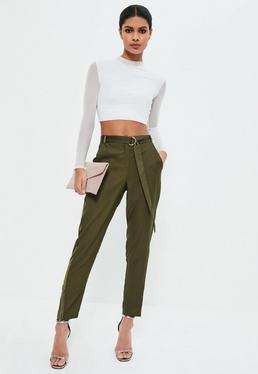 Pantalon cigarette vert kaki zippé bandes en satin