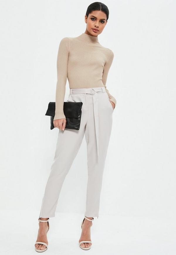 Grey Satin Side Zip Hem Cigarette Trousers
