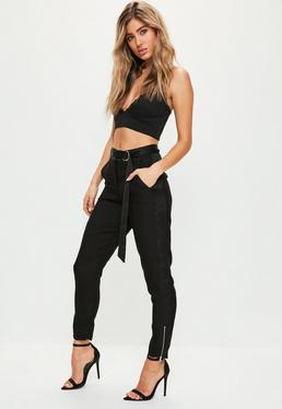 Black Satin Side Zip Hem Cigarette Trousers