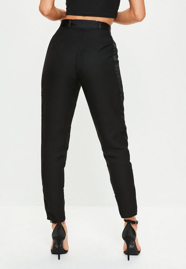 Black Satin Side Zip Hem Cigarette Pants Missguided