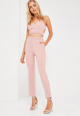 Nude Eyelet Detail Waist Cigarette Trousers