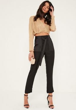 Black Satin Pocket Belted Cigarette Pants