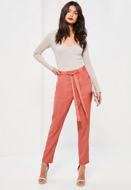 Pink Satin Pocket Belted Cigarette Pants