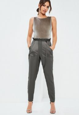 Grey Pocket Detail Paperbag Waist Belted Trousers