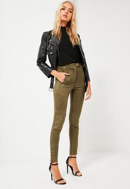 Khaki Faux Suede Pocket Detail Leggings