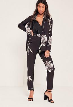 Black Floral Printed Crepe Cigarette Trousers
