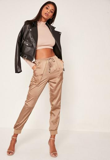 Rose Gold Pocket Detail Cuffed Satin Joggers Missguided