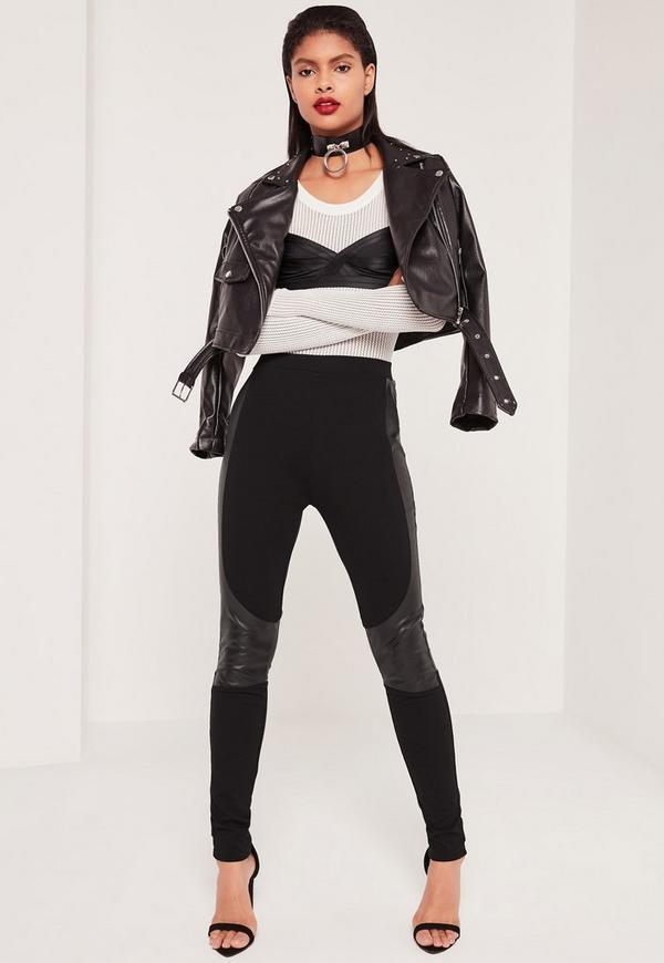Faux Leather Panel Ponte Leggings Black