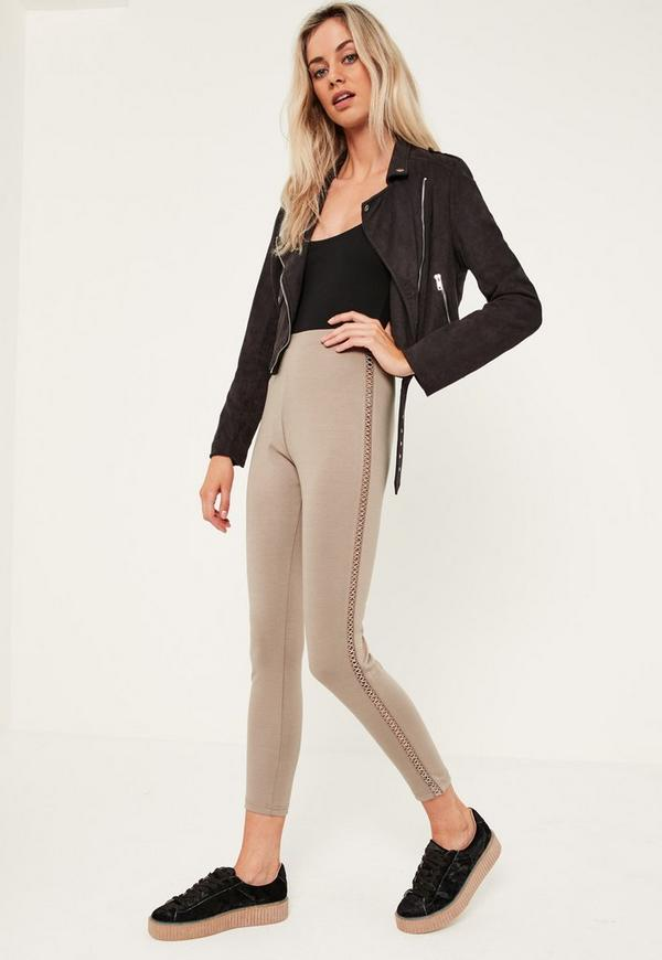 Nude Lattice Side Ponte Leggings
