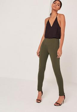 Khaki Skinny Fit Cigarette Pants