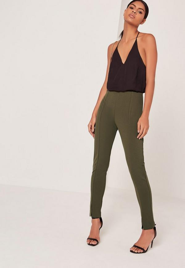 Skinny Fit Cigarette Trousers Khaki