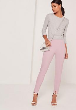 Pantalon cigarette coupe skinny lilas