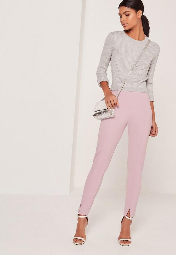 Skinny Fit Cigarette Trousers Lilac