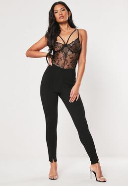 Black Skinny Fit Cigarette Pants