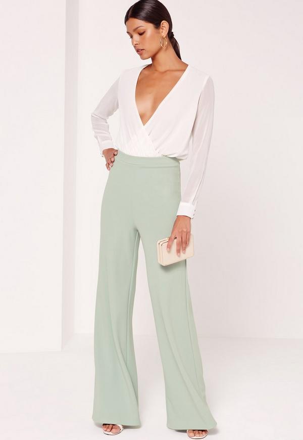 Jersey Crepe Wide Leg Trousers Green