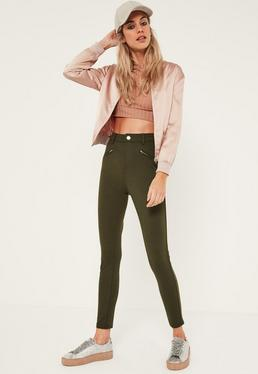 Khaki Zip Pocket Ponte Treggings
