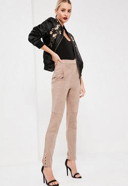 Nude Faux Suede Pocket Detail Leggings
