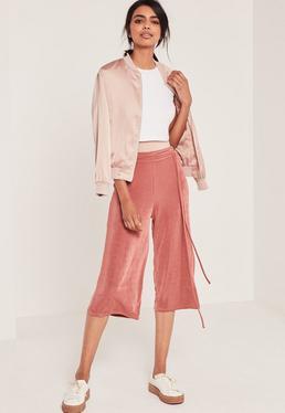 Jupe-culotte fluide rose