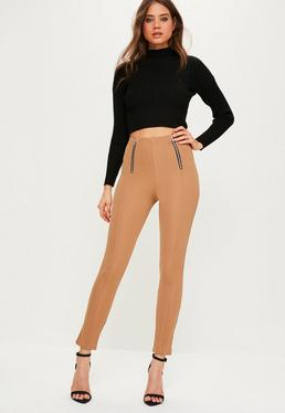 nude jersey crepe zip detail pin tuck leggings