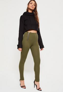 Khaki Jersey Crepe Zip Detail Pin Tuck Leggings