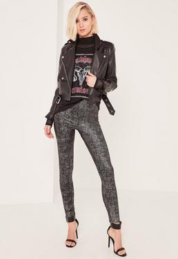 Grey Metallic Glitter Fleck Leggings