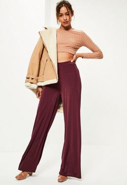 Burgundy Vertical Ribbed Wide Leg Trousers