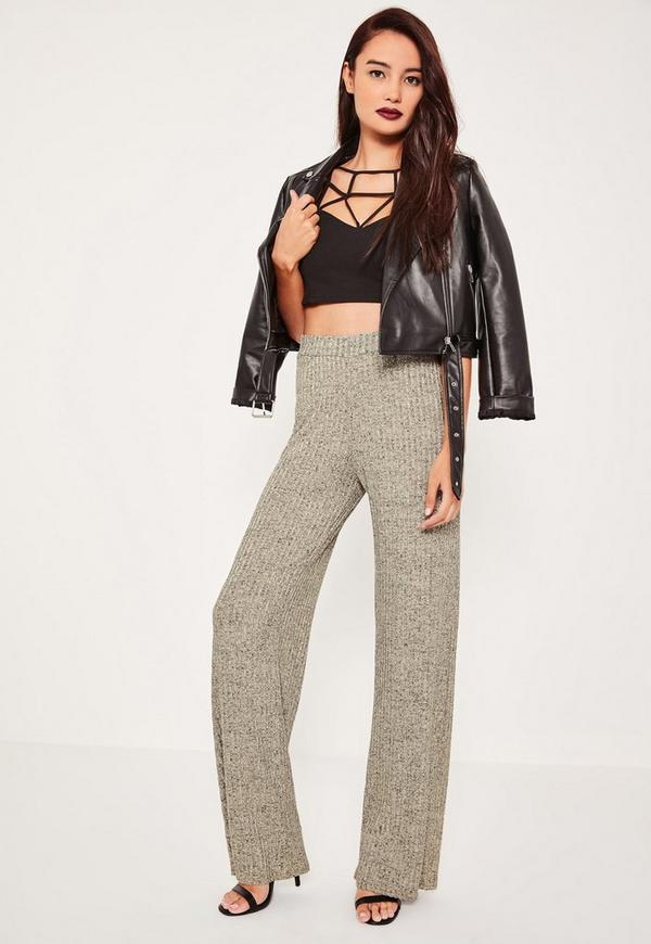 Gold Marl Vertical Ribbed Wide Leg Trousers