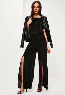 Black Slinky Split Front Wide Leg Trousers