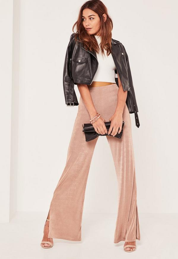 Nude Slinky Side Split Wide Leg Trousers