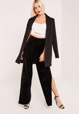 Black Crushed Velvet split Side Wide Leg Trousers