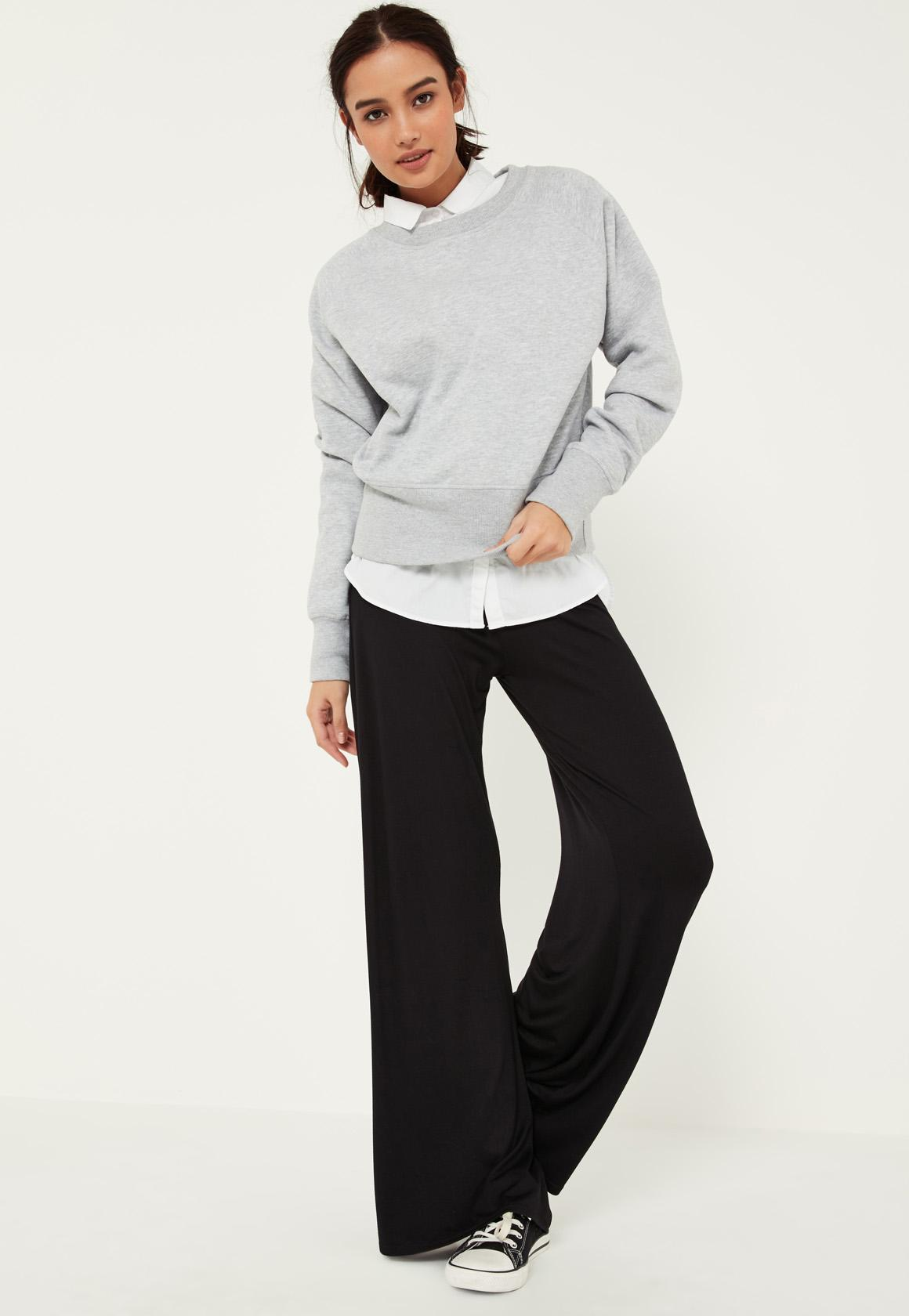 Black Jersey Casual Wide Leg Trousers