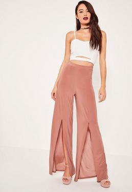 Pink Slinky Split Front Wide Leg Trousers