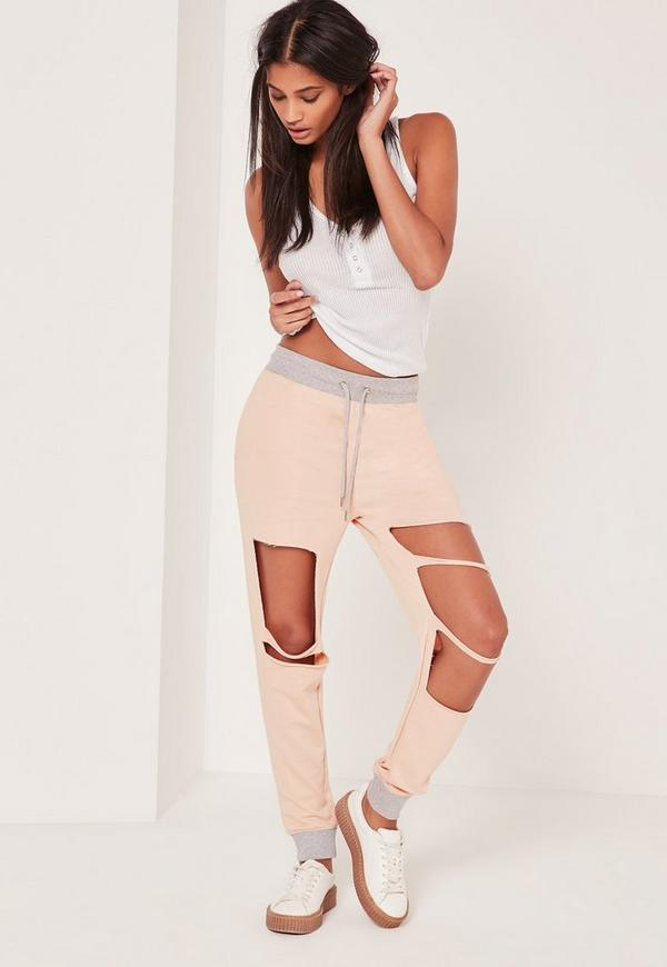 Extreme Distressed Contrast Waist Joggers Nude