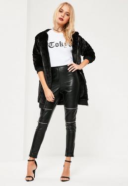 Pantalon noir Premium en simili cuir détails zips