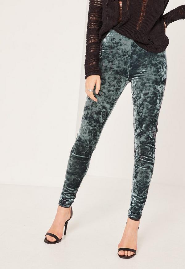 50 50 Outlet >> Grey Crushed Velvet Leggings | Missguided