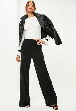 Black Vertical Ribbed Wide Leg Trousers