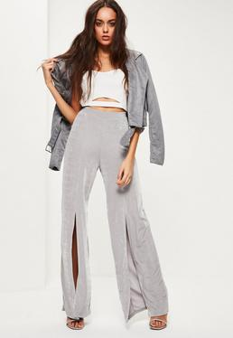 Grey Slinky Split Front Wide Leg Trousers