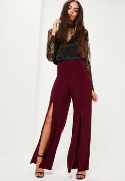 Burgundy Slinky Split Front Wide Leg Trousers