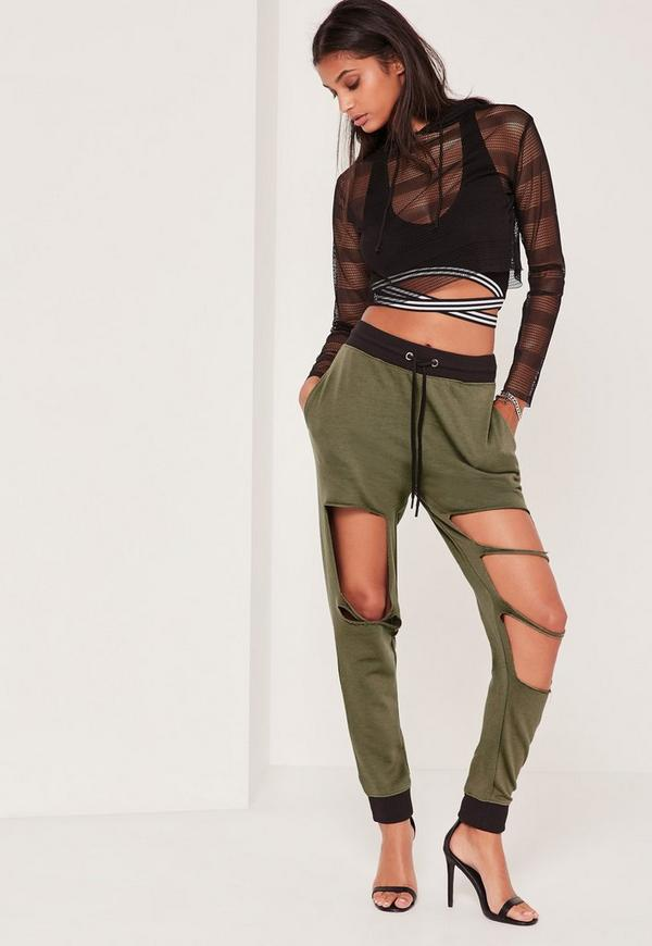 Extreme Distressed Contrast Waist Jogger Khaki