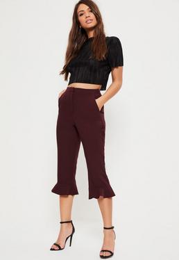 Burgundy Frill Hem Cropped Trousers