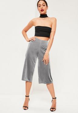 Grey Velvet Wide Leg Culottes