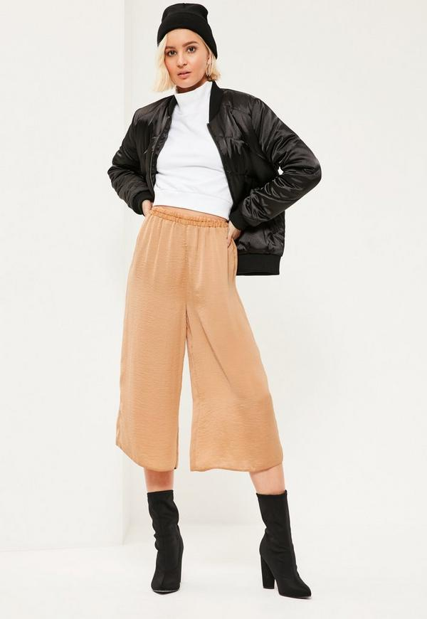 Gold Hammered Satin Elastic Waist Culottes