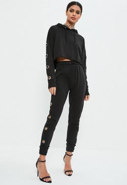Black Large Eyelet Detail Joggers