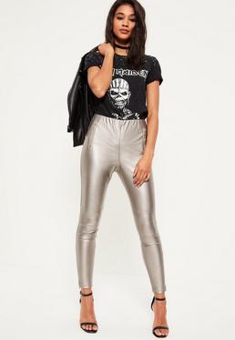 Silver Metallic Faux Leather Zip Detail Leggings