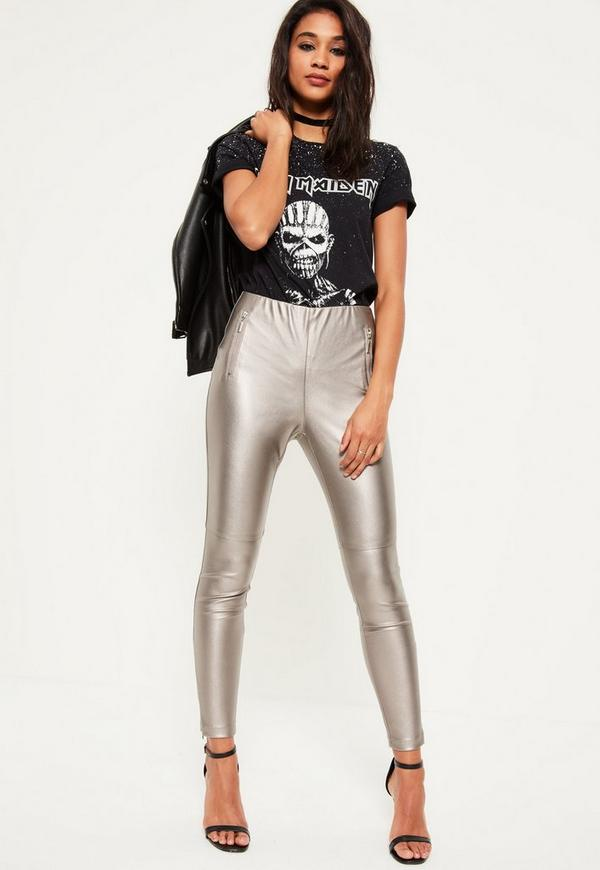 Silver Metallic Faux Leather Zip Detail Leggings | Missguided