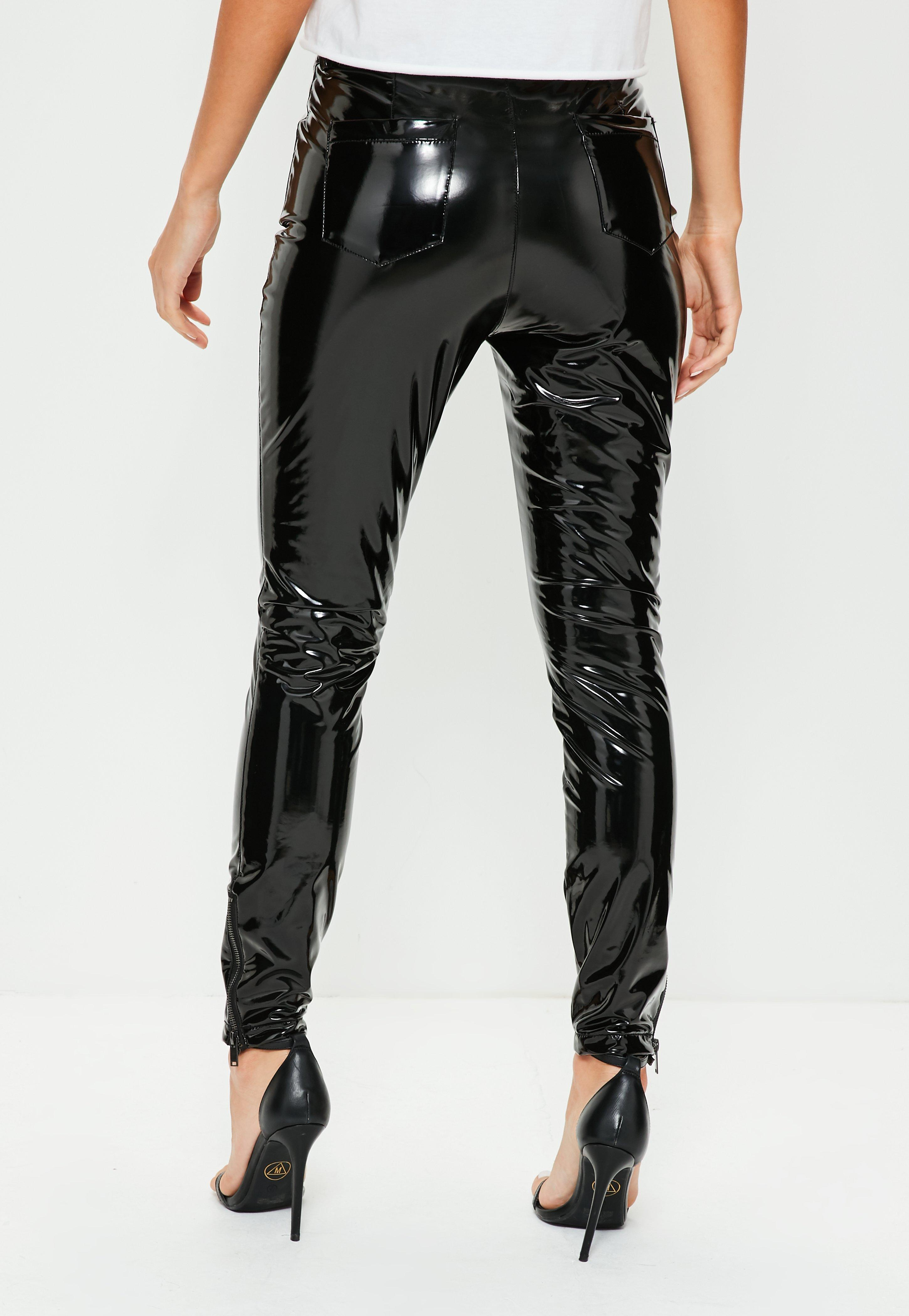 Top Pantalon legging noir brillant en simili cuir zippé | Missguided QR59