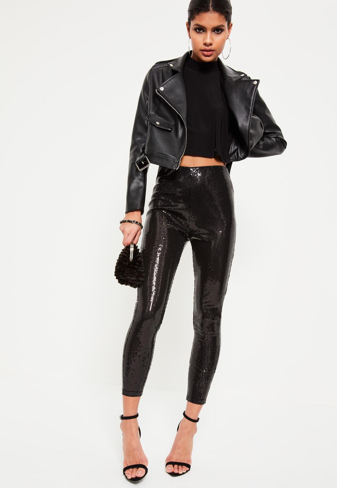 Black All Over Sequin Leggings