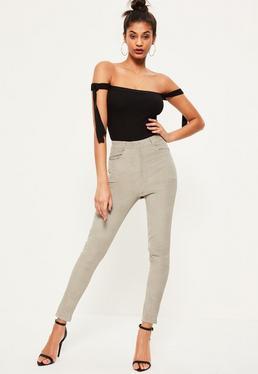 Szare spodnie sztruksowe
