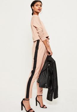 Pantalon cigarette rose en satin bandes contrastantes